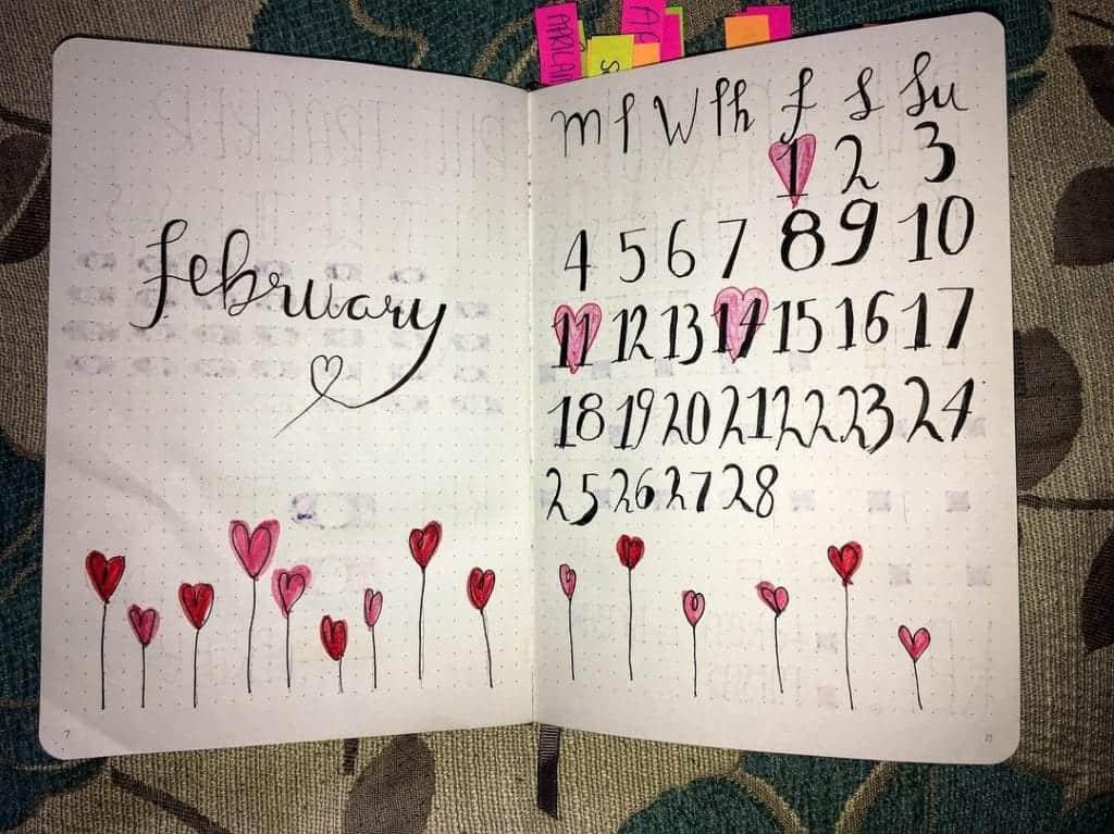 Lovely February Bullet Journal Spread