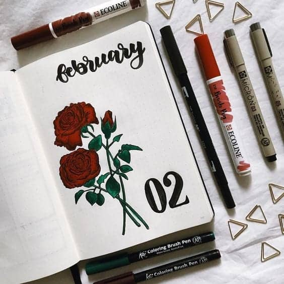 simple monthly cover page for February