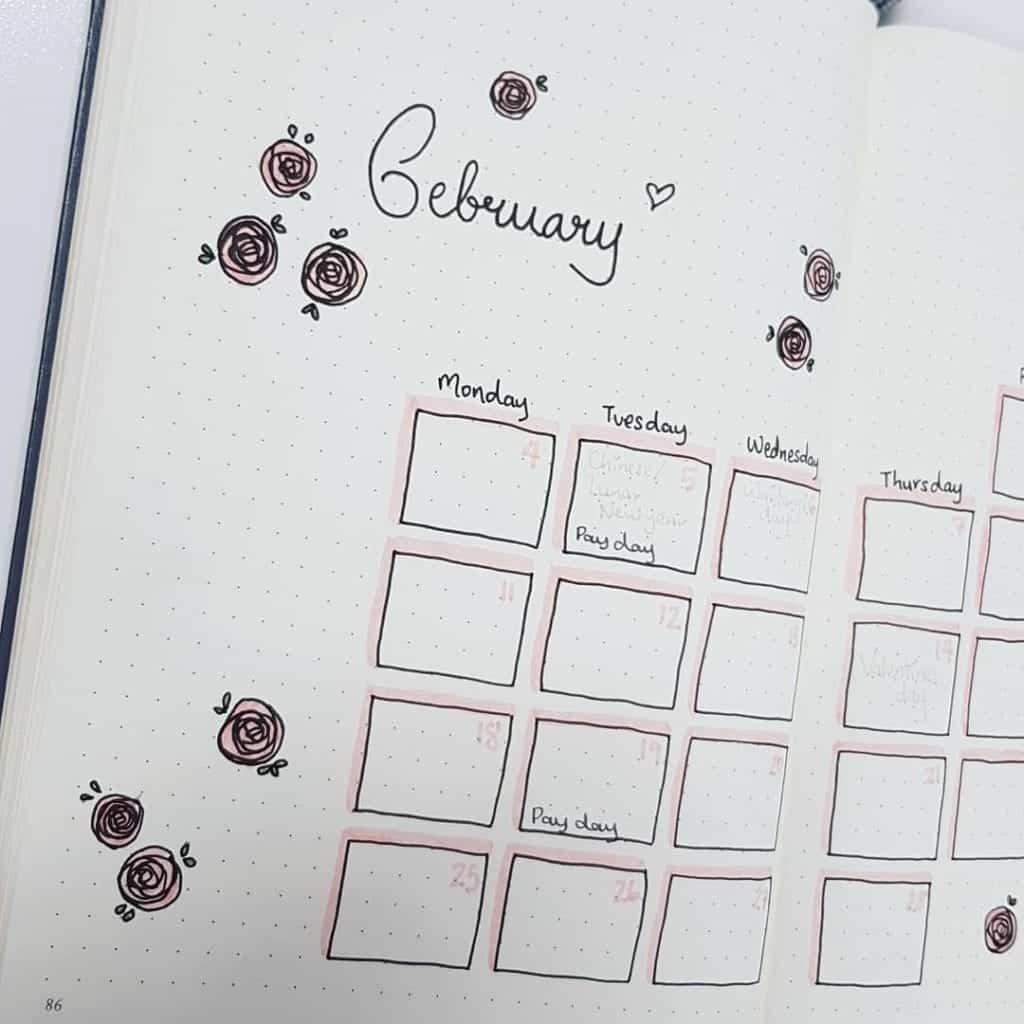 February Bullet Journal Monthly Spread