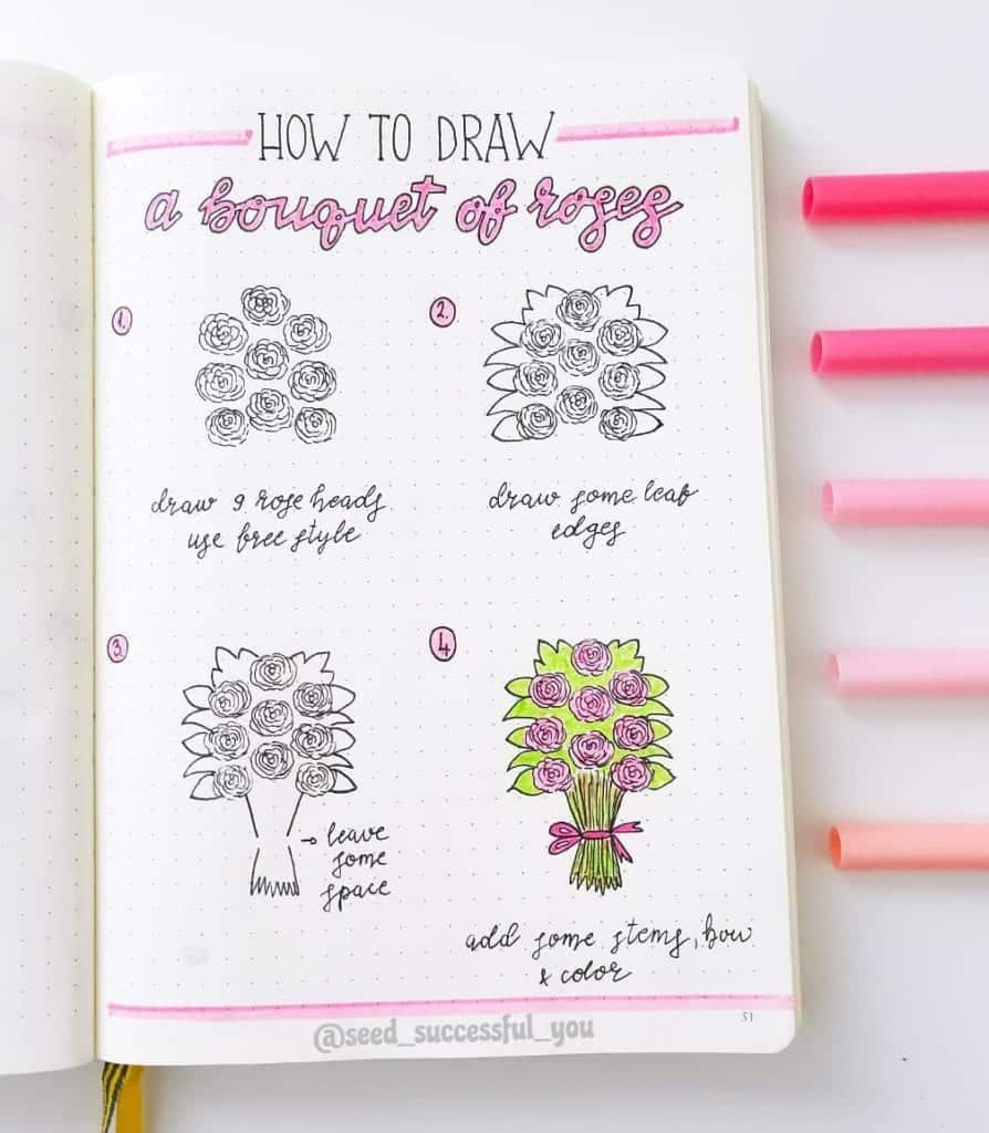 how to draw a bouquet of roses in your valentine's day journal