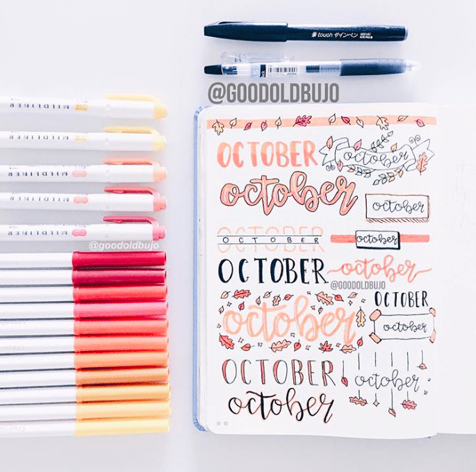 October Bullet Journal Title Banners