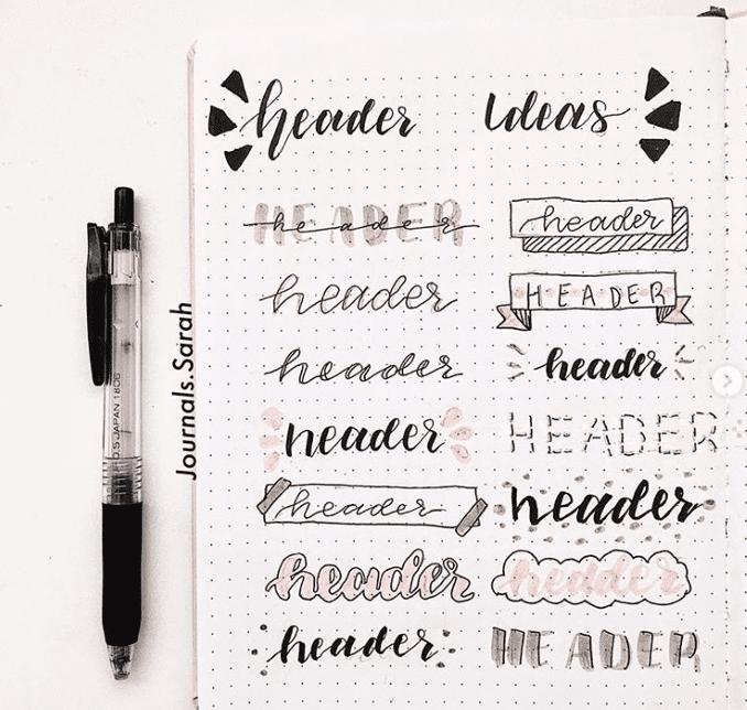 Bullet Journal Header Fonts