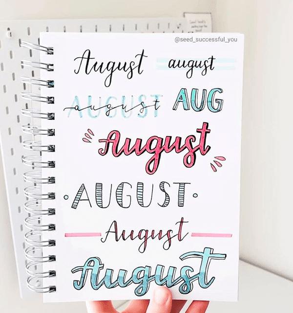 August Bullet Journal Headers