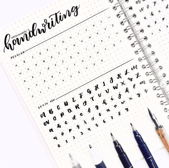 lettering cheat sheet bullet journal hack