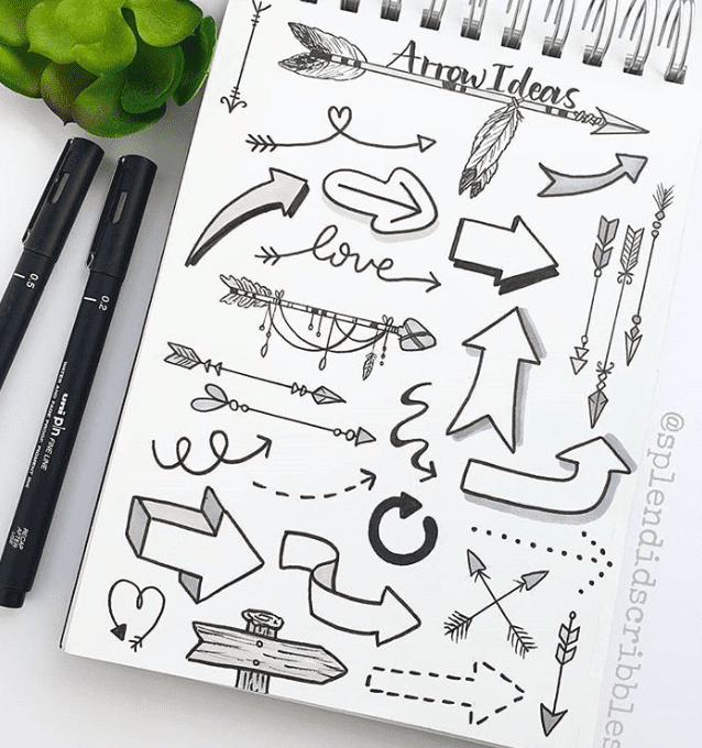 Headers for bullet journal with Arrows