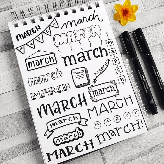 March Bullet Journal Headers
