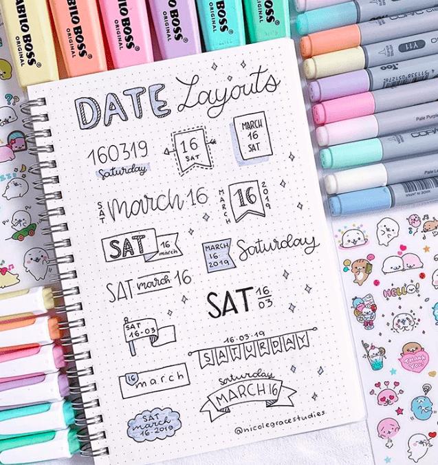 Bullet Journal Date Headers