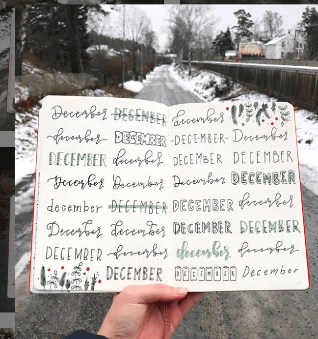 Large list of December Bullet Journal Headers