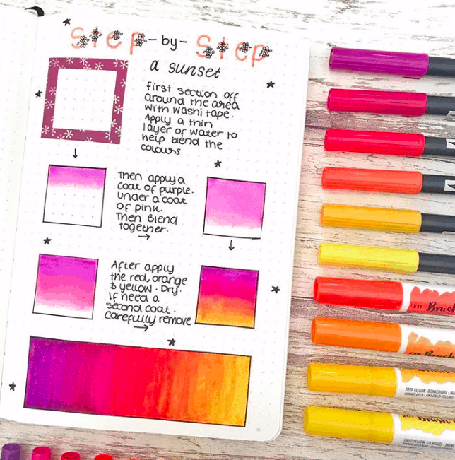step by step a sunset with markers in bullet journal
