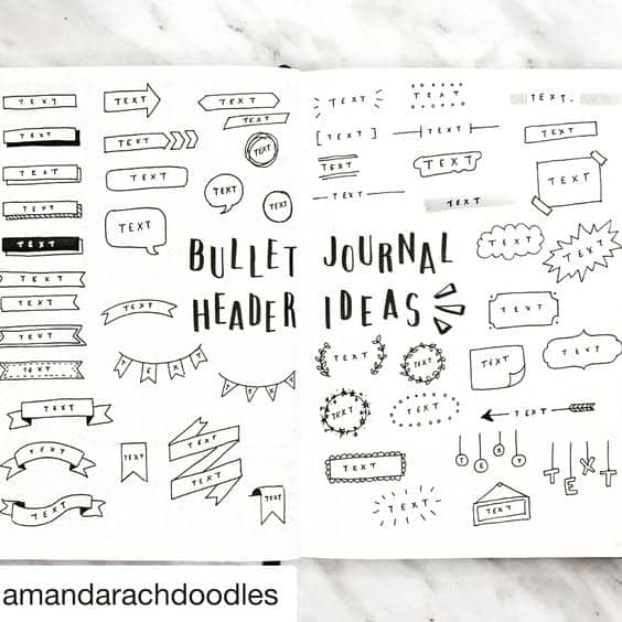 Bullet Journal Header Ideas