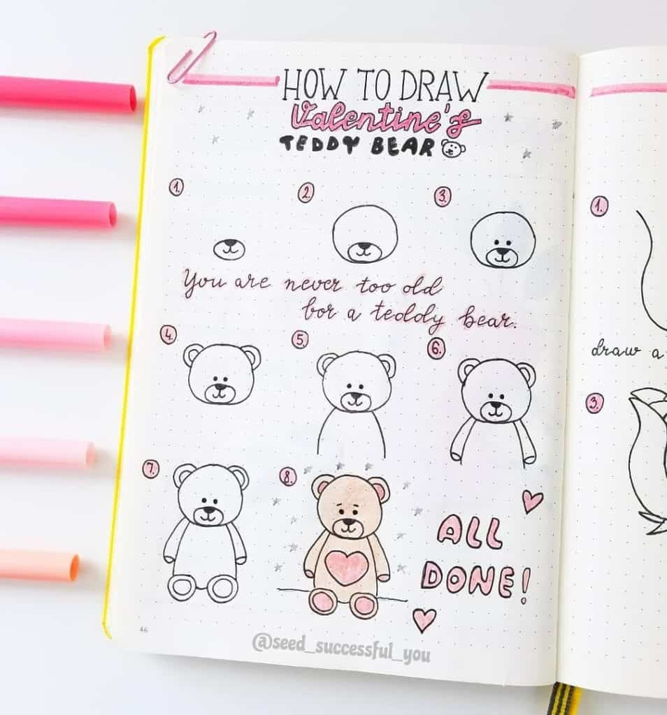 How to draw a Teddy Bear Valentines Day Doodle