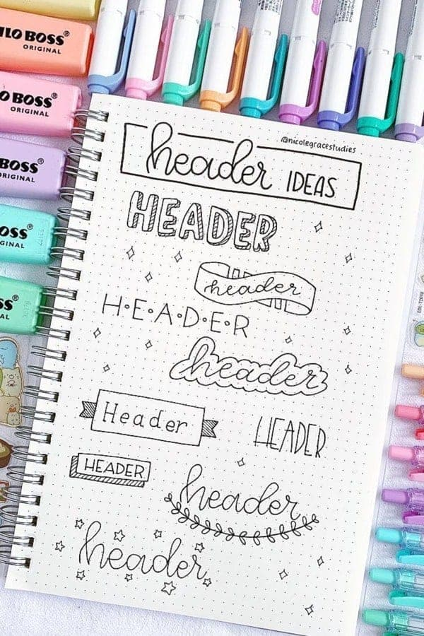 How to draw bullet journal headers