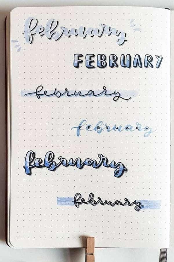 February headers for bullet journals