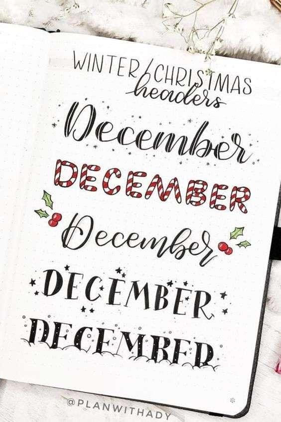 December Simple bujo headers