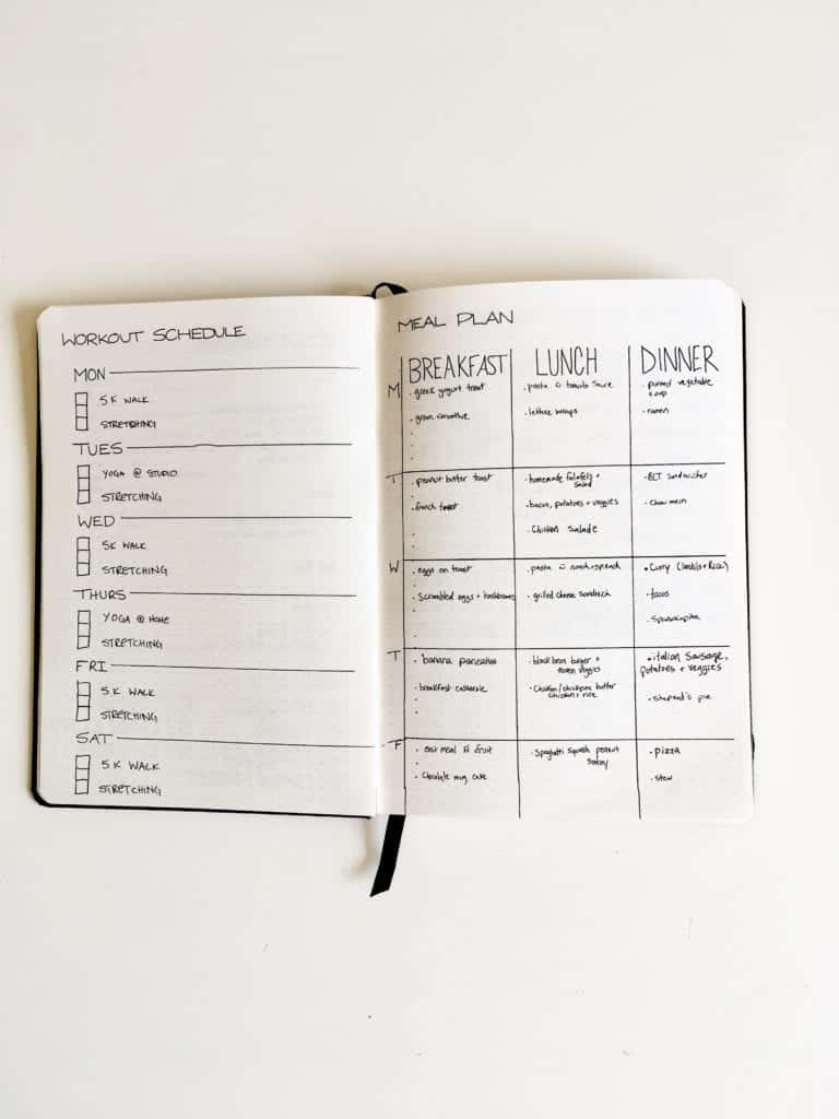 workout schedule and meal plan