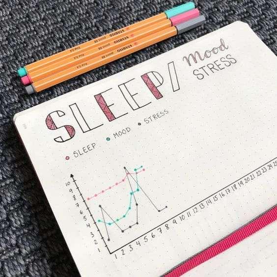 bullet journal sleep mood stress tracker