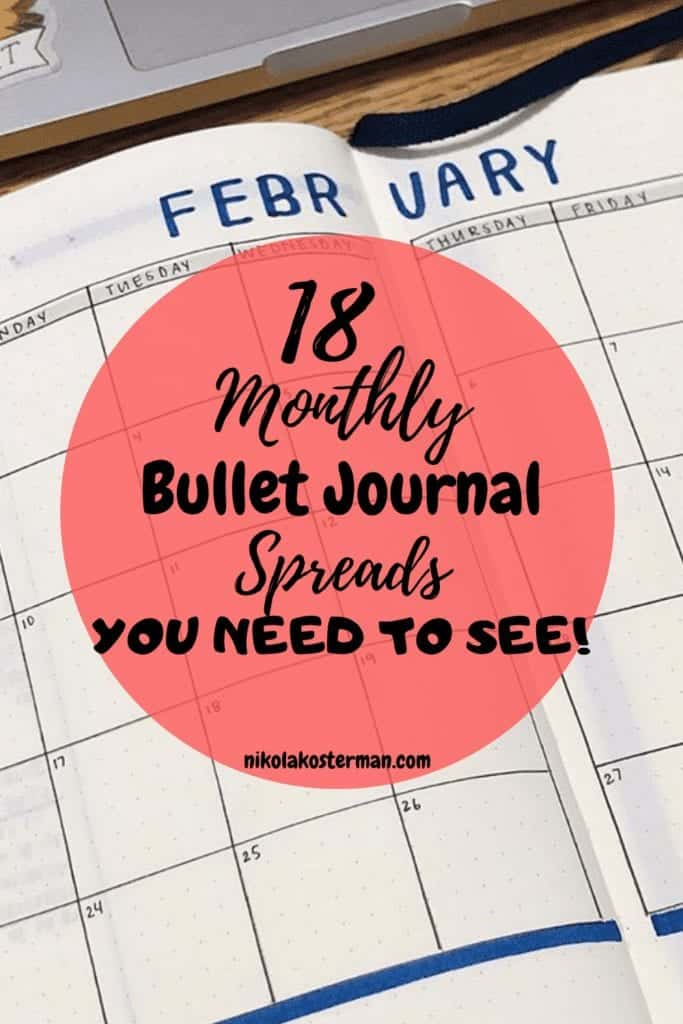18 Monthly Bullet Journal Spreads for the entire year!