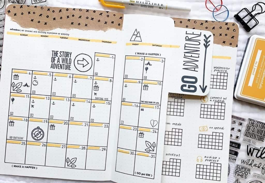 Creative Monthly Bullet Journal Spread with cutouts!