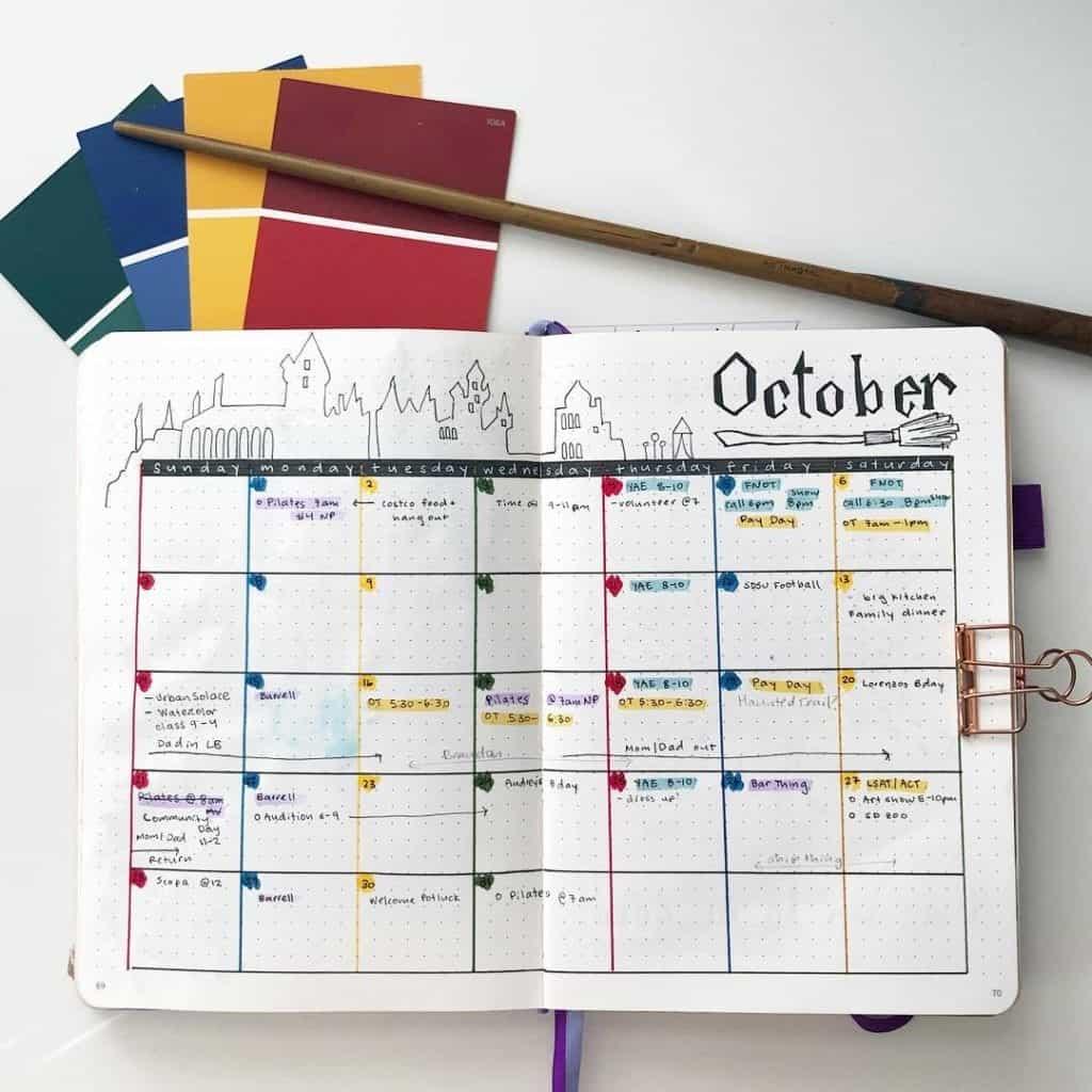 October Monthly Bullet journal Spread