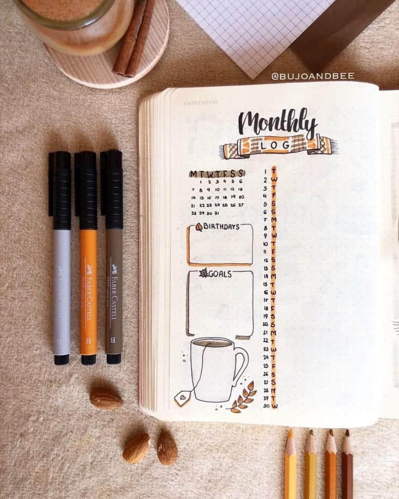Monthly Log for Bullet Journal