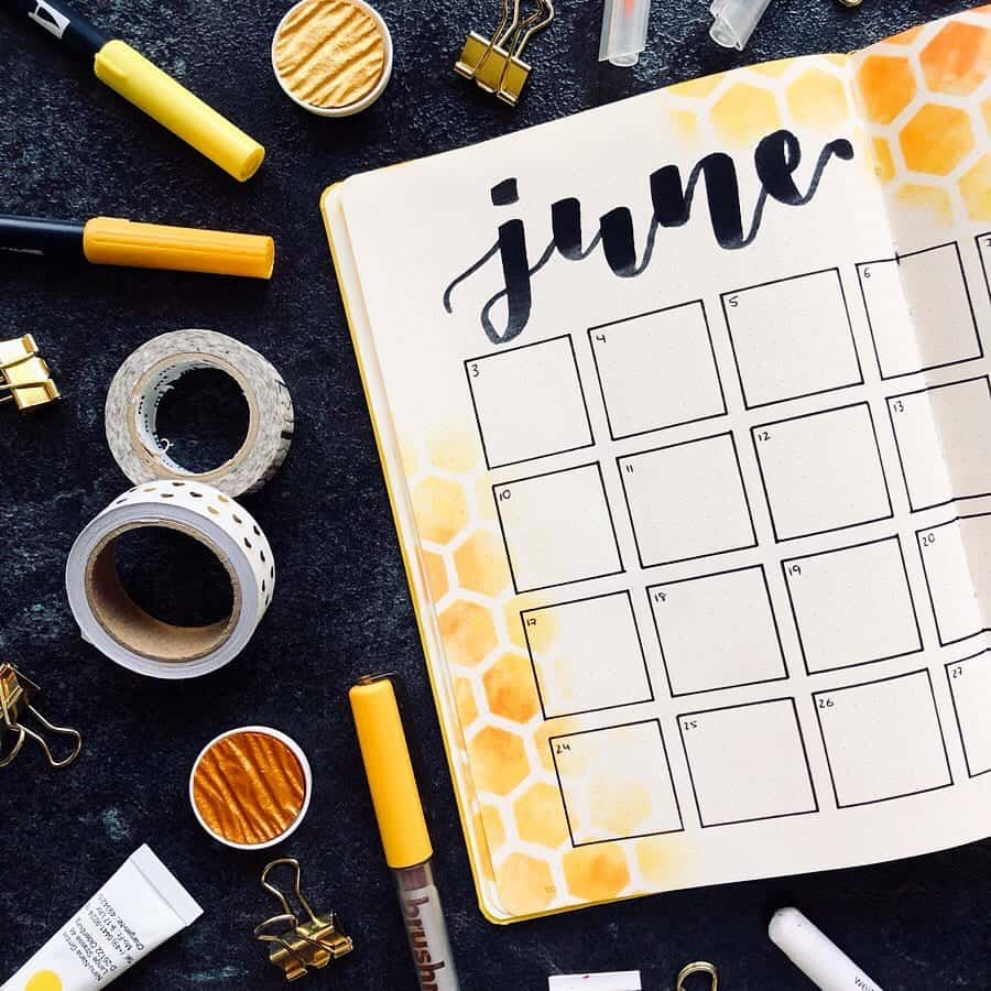 June Monthly Calendar Spread with yellow honey comb background