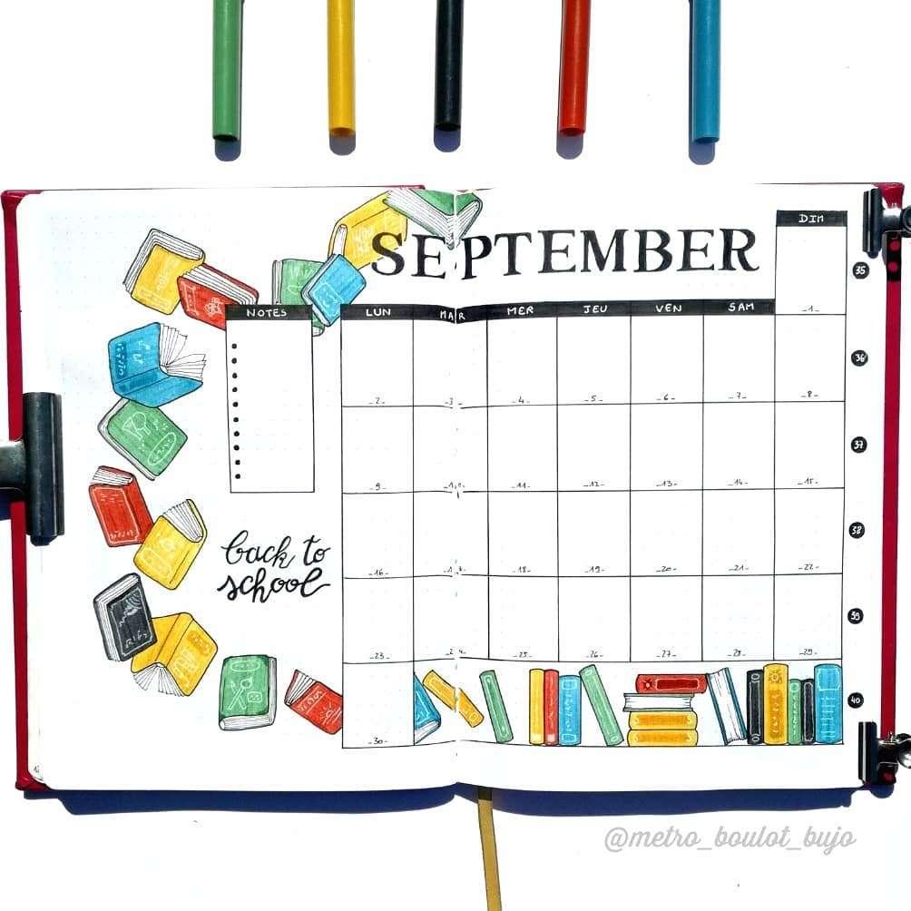 September Monthly Bullet Journal Spread