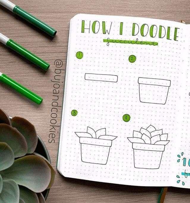 succulent bullet journal doodle