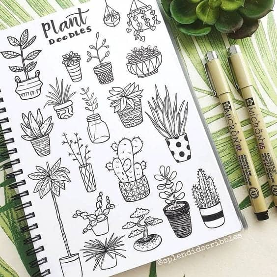 potted plant doodles inspiration