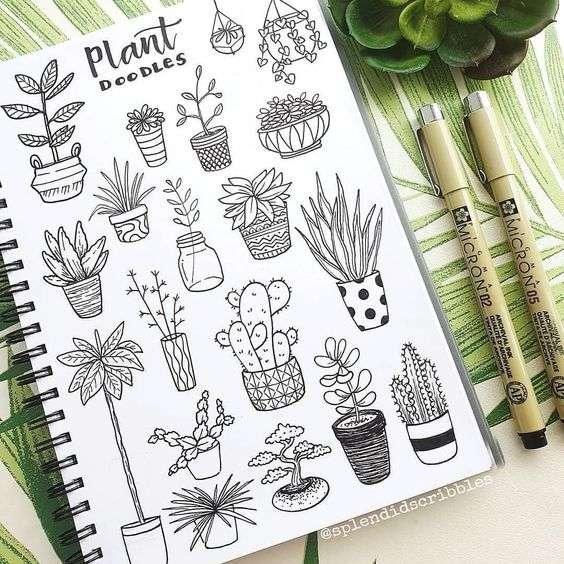 potted plant doodles