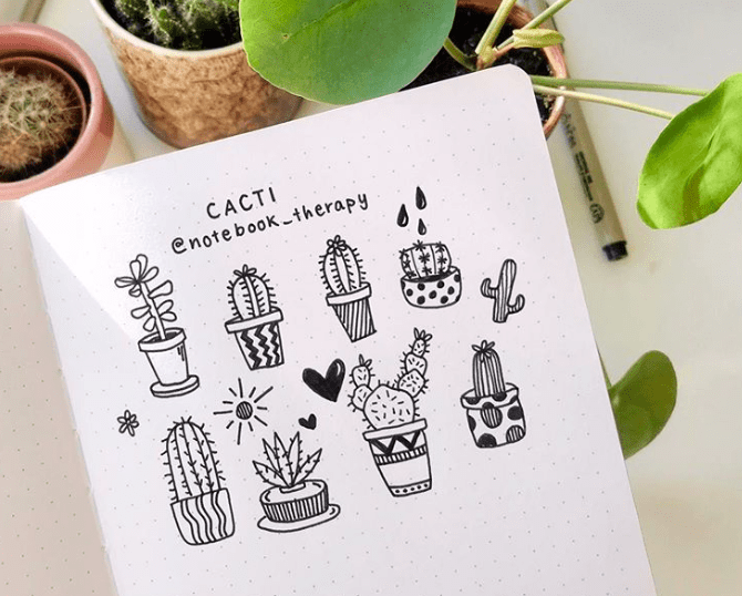 black and white cactus doodles