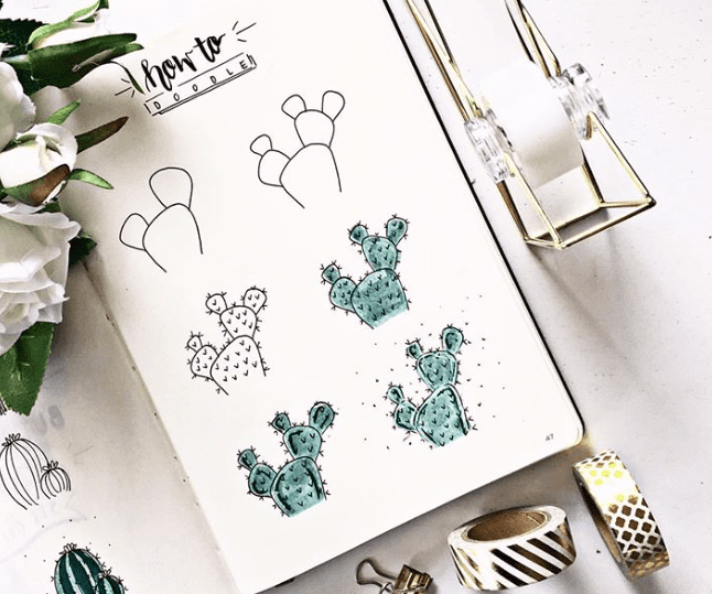 step by step how to doodle a cactus