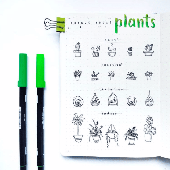 bullet journal plant doodles