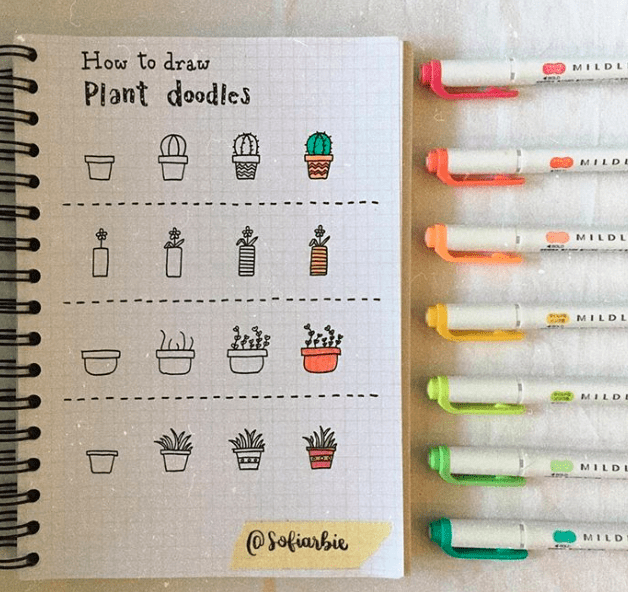 how to draw plant doodles