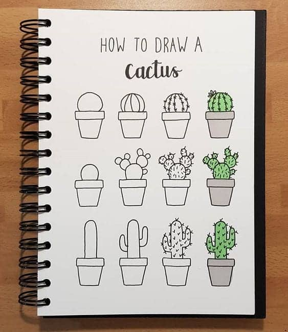 cacti doodle ideas for your bujo