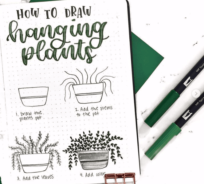 how to draw potted plants
