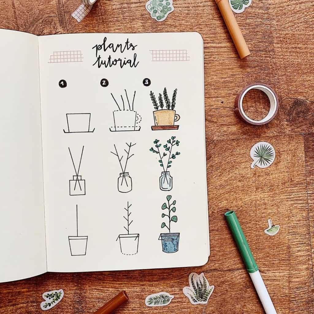 simple house plant drawing tutorial