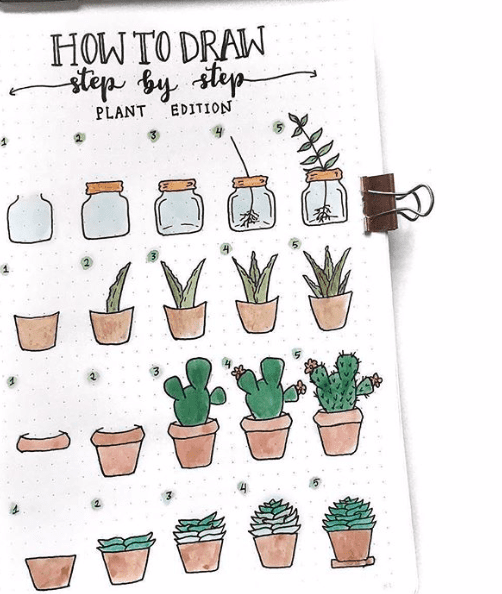how to draw potted plants in bullet journal