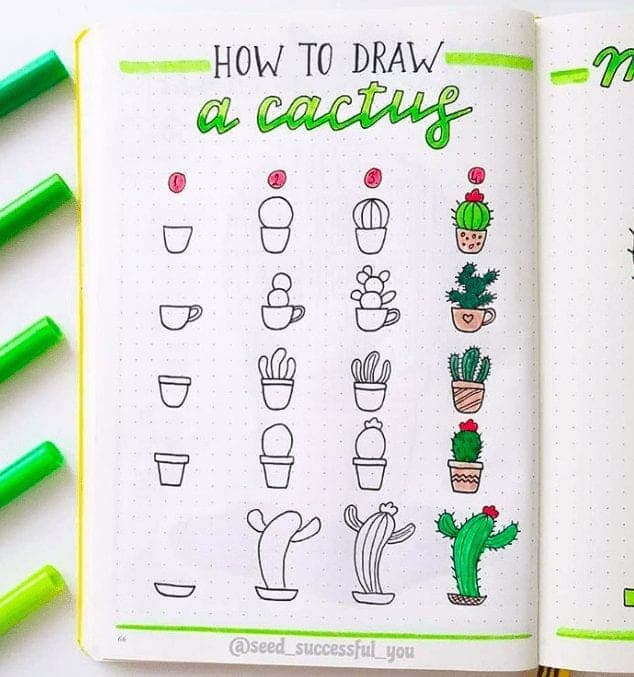 cactus bullet journal doodles to try