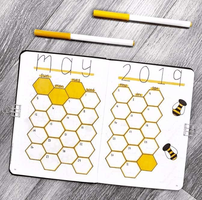 May Honeycomb themed monthly calendar with yellow outlines and bees