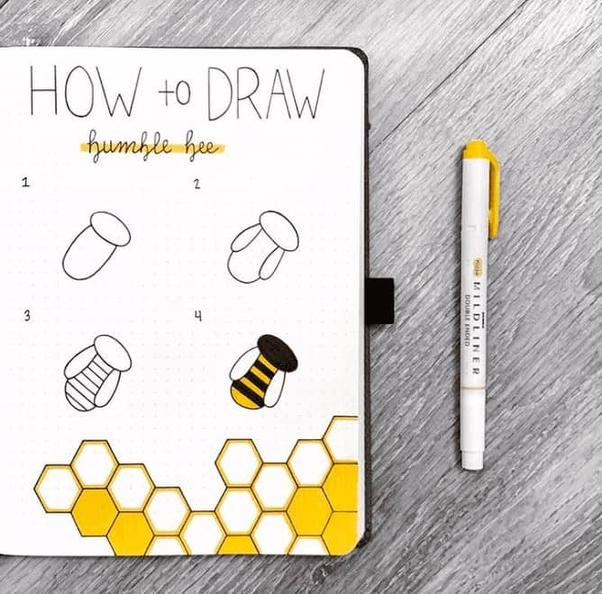 Step by step how to draw a honey bee with honey combs in the background in a bullet journal