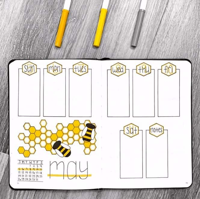 Bee and honey comb style two page weekly spread in a bullet journal