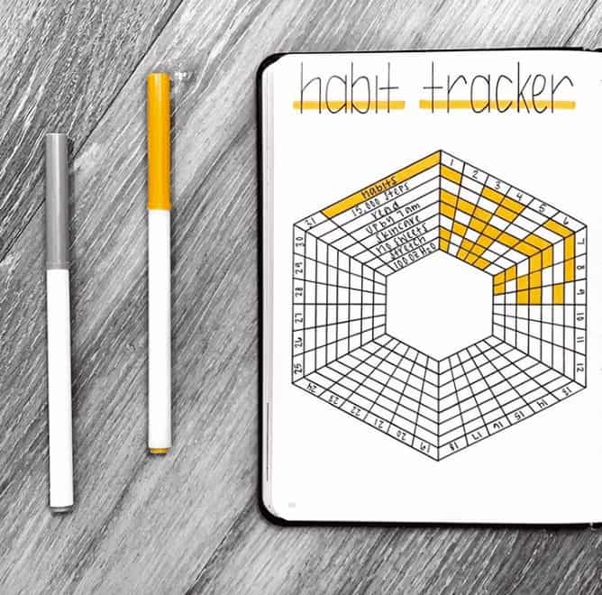 Honey Comb Habit Tracker filled in yellow in a bullet journal