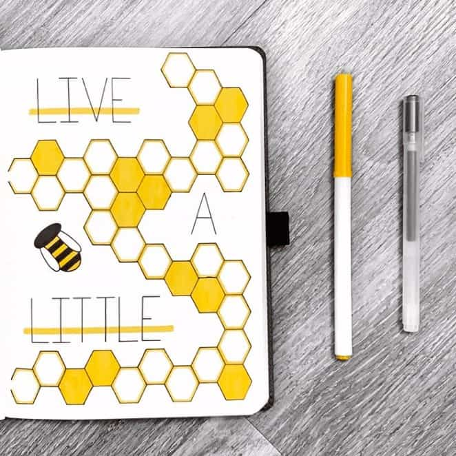 Live a Little Quote Page with Yellow honey comb and bee theme in a bullet journal