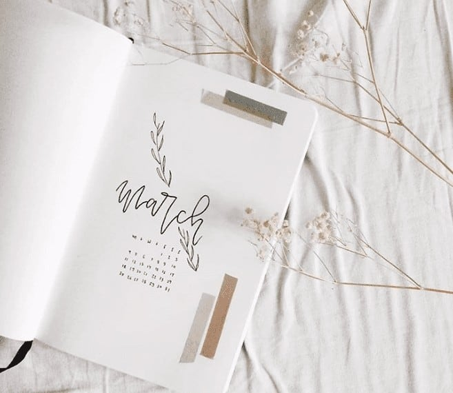Black and White Minimalist March Bullet Journal Layout