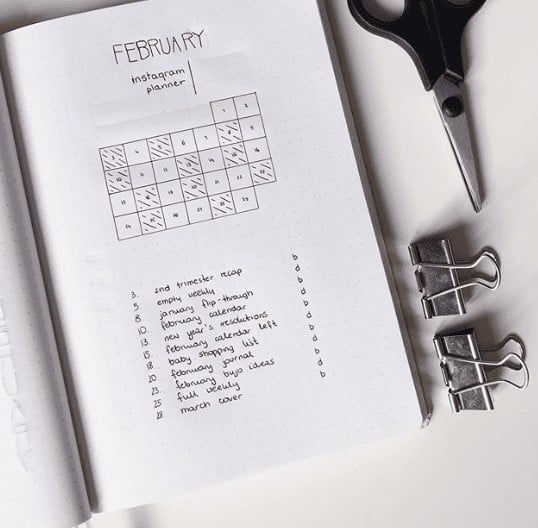 Minimalist Instagram Planner Layout with Calendar and Daily Task List