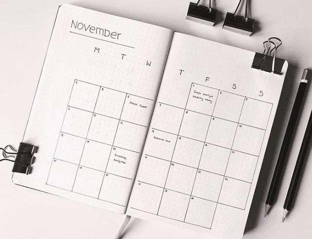 November Bullet Journal Calendar Layout