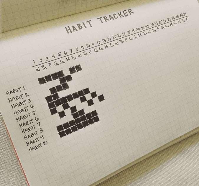 Horizontal Single Page Habit Tracker