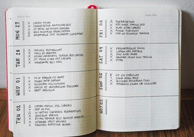Agenda Style Weekly Bullet Journal Layout