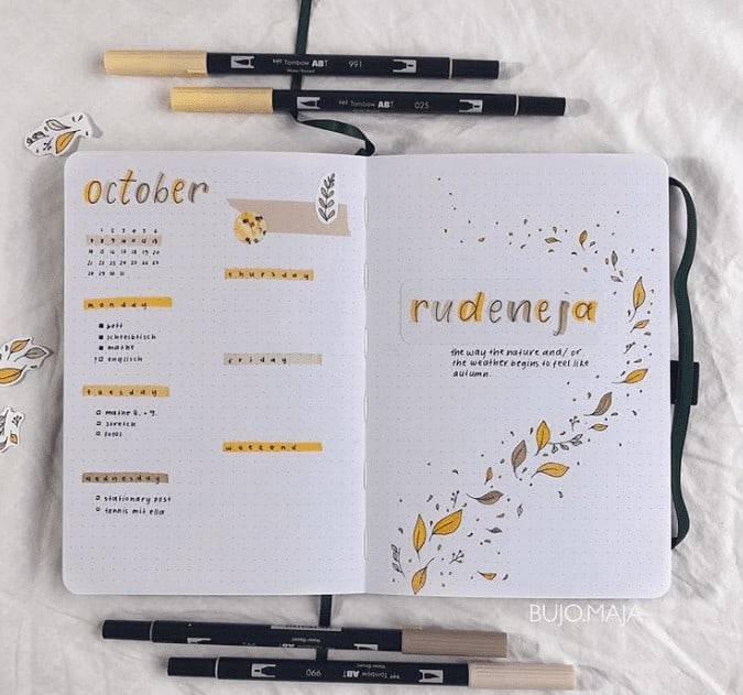 October Weekly Spread with Monthly Snapshot and printable doodles in a bullet journal
