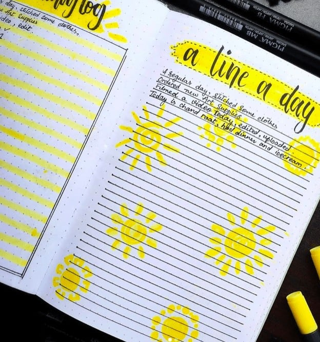 Daily Log In a Bullet a Journal titled 'A Line a Day' with yellow coloring